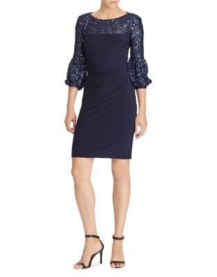 Sequined-Trimmed Jersey Sheath Dress by Lauren Ralph Lauren