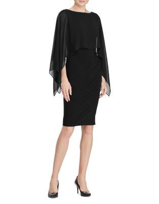 Crepe Overlay Sheath Dress by Lauren Ralph Lauren