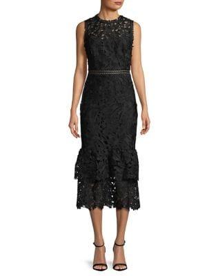 Tiered Ruffle Hem Midi Dress by Shoshanna MIDNIGHT