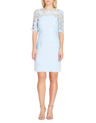 Photo of Lace Overlay Sheath Dress by Tahari Arthur S. Levine - shop Tahari Arthur S. Levine dresses sales