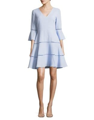 Three-Quarter Bell Sleeve Fit-&-Flare Dress by Eliza J