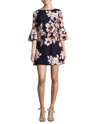 Petite Floral Bell-Sleeve A-Line Dress by Eliza J