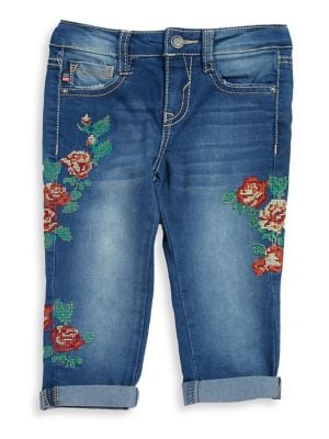 Little Girl's Floral Cross Stiched Capri Jeans 500087805729