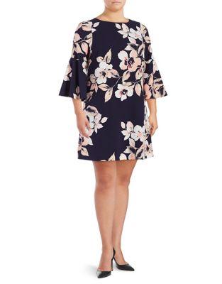 Plus Floral-Print Bell-Sleeve Shift Dress by Eliza J