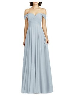 91f4d0c5ca3 Full Length Off Shoulder Lux Chiffon Dress MIST. QUICK VIEW. Product image.  QUICK VIEW. Dessy Collection