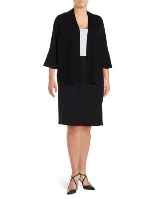 Plus Bell-Sleeve Open Front Cardigan by Calvin Klein