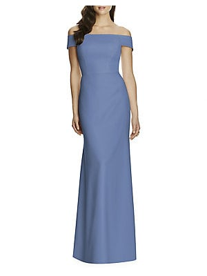 cbe6dedf6474e Dessy Collection - Full Length Off Shoulder Crepe Dress - lordandtaylor.com