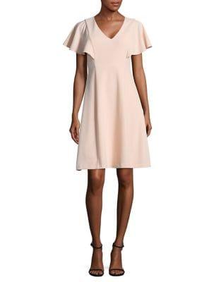 Flutter-Sleeve A-Line Dress by Calvin Klein