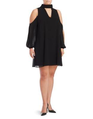Plus Cold-Shoulder Choker Dress by Vince Camuto