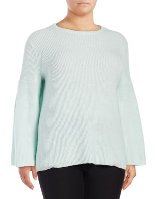 Plus Ribbed Bell-Sleeve...
