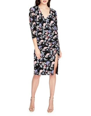 Rouched Printed Mesh Midi Dress by RACHEL Rachel Roy