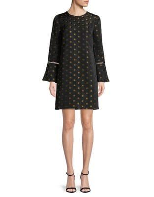 Multi Dot Bell-Sleeve Dress by Shoshanna
