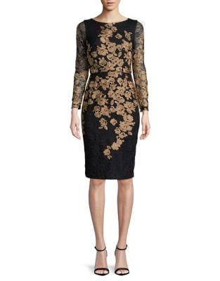 Petite Embroidered Long-Sleeve Sheath Dress by Xscape