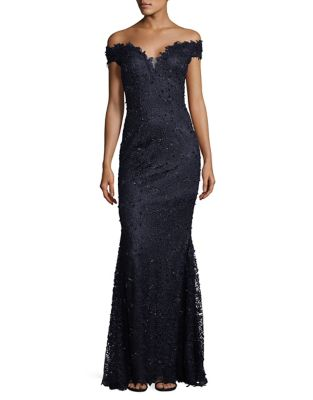 Off-the-Shoulder Lace Gown by Teri Jon