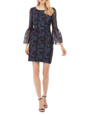 Embroidered Bell-Sleeve Sheath Dress by Nicole Miller New York