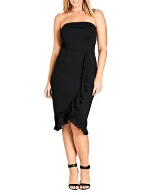 Plus Chic Love Frilled Dress by City Chic