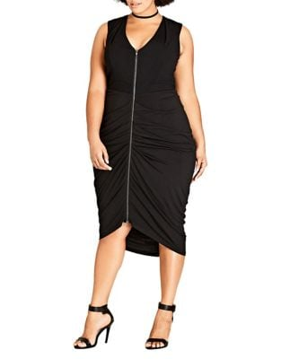 Plus Drape V-Neck Dress by City Chic