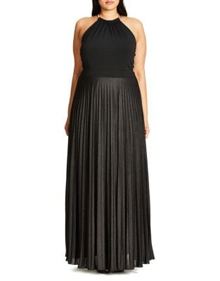 Plus Shimmering Pleated Maxi Dress by City Chic