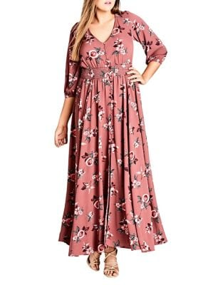 Plus Rose Play Maxi Dress by City Chic