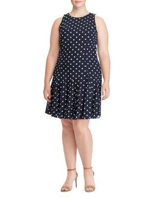 Plus Dotted Georgette Fit-&-Flare Dress by Lauren Ralph Lauren