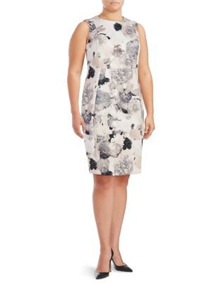 Plus Floral-Print Sleeveless Sheath Dress by Calvin Klein