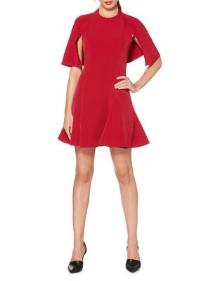 Cape-Sleeve Fit-&-Flare Dress by Laundry by Shelli Segal