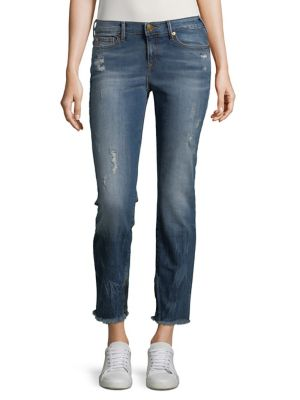 Sara Frayed Cigarette Ankle Jeans 500087838294