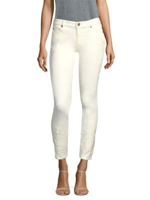 Halle Floral Embroidered Skinny Jeans 500087838349