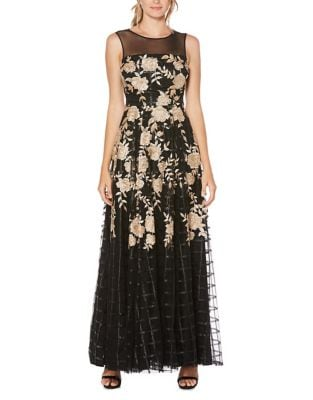 Embroidered Floral Floor-Length Gown by Laundry by Shelli Segal
