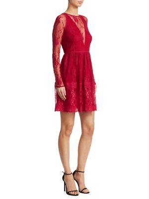 Long Sleeve Fit-&-Flare Lace Dress by ML Monique Lhuillier