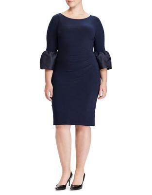 Plus Taffeta-Cuff Sheath Dress by Lauren Ralph Lauren
