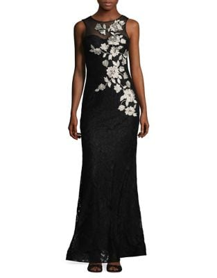 Floral Lace Floor-Length Dress by Betsy & Adam