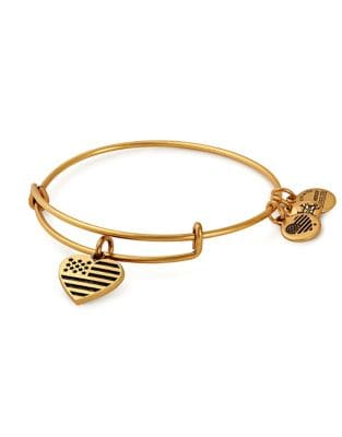 Valentines Day Heart and Flag Charm Bangle Bracelet
