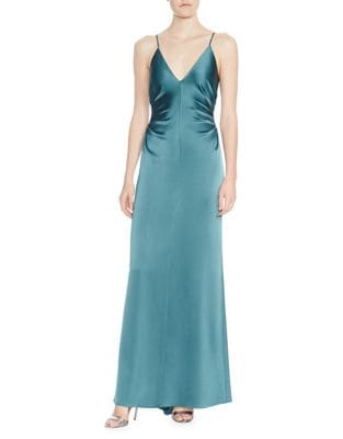 Ruched-Side Column Evening Gown 500087863680