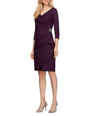 Petite Three Quarter Sleeve Sheath Dress by Alex Evenings