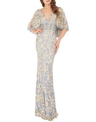 Metallic Floor-Length Gown by Mac Duggal