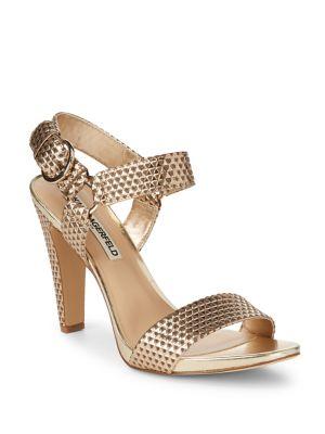 Cieone Textured Metallic Leather Sandals