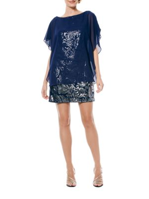 Sequined Chiffon-Overlay Dress by Laundry by Shelli Segal