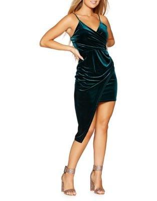 Asymmetric Velvet Slip Dress by QUIZ