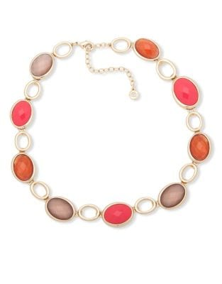 Faux Mother-Of-Pearl and Crystal Faceted Collar Necklace
