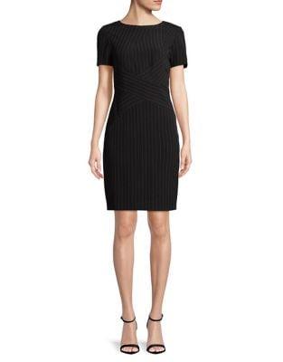 Short Sleeve Pinstripe Sheath Dress by Tahari Arthur S. Levine
