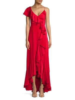 Tailored-Fit Ruffle Hi-Lo Gown