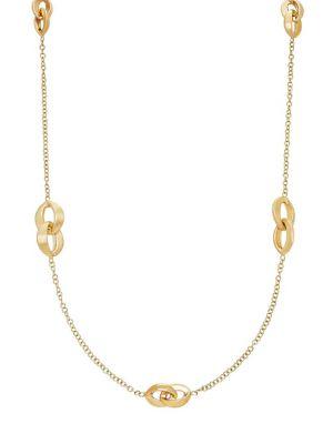 14K Gold Interlock Chain Necklace
