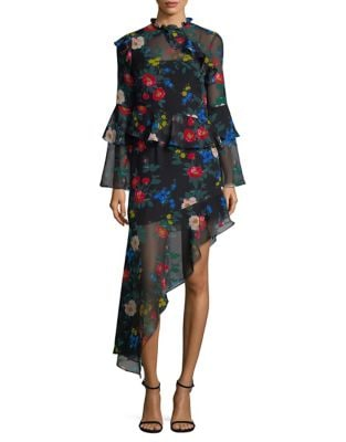 Floral-Print Asymmetrical Dress