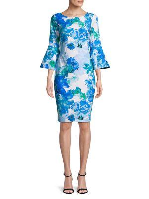Bell Sleeve Sheath Dress 500087952737