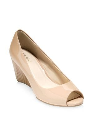 Sadie Patent Leather Open Toe Wedge Pumps 500087956425