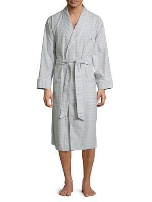Windowpane Cotton Robe...