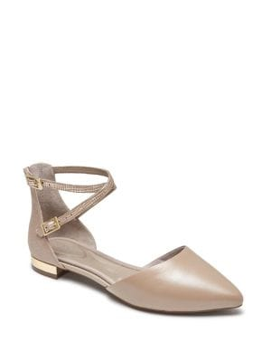 Total Motion Adelyn Leather Ankle-Strap Flats