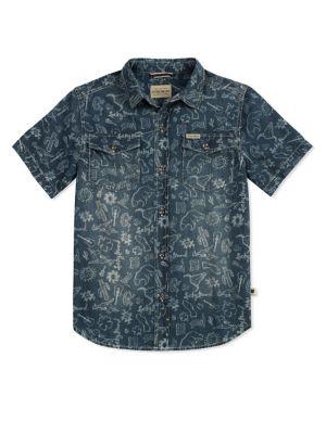 Boy's Printed Cotton Button-Down Shirt 500087987969