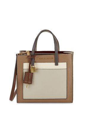 Colorblock Leather Satchel Bag 500087988619